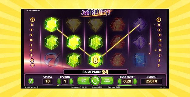 Обзор и характеристики игрового автомата Starburst